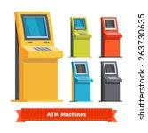 colorful atm machines ... | Shutterstock .eps vector #263730635