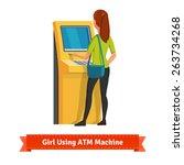 girl at atm machine doing... | Shutterstock .eps vector #263734268