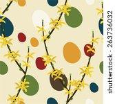 easter eggs with forsythia...   Shutterstock .eps vector #263736032