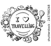 hand drawn travel illustration  | Shutterstock .eps vector #263788268
