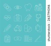 hospital line icon set | Shutterstock .eps vector #263794346