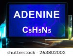 Small photo of Tablet with chemical formula of adenine.