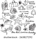 tropical vacation doodle icon... | Shutterstock .eps vector #263827292