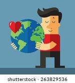 earth day. man holding globe.... | Shutterstock .eps vector #263829536