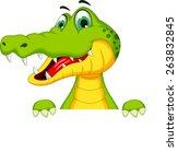 Funny Crocodile Cartoon Posing...