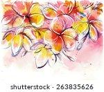 yellow rose bush frangipani on... | Shutterstock . vector #263835626