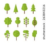 collection set flat icons tree  ... | Shutterstock .eps vector #263843216
