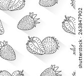 strawberry doodle seamless | Shutterstock .eps vector #263847902