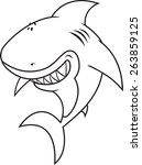 funny looking great white shark ... | Shutterstock .eps vector #263859125