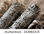 dried sage white sage smudge... | Shutterstock . vector #263882315