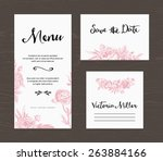 wedding set. menu  save the... | Shutterstock .eps vector #263884166