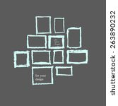 square frames with ink blots.... | Shutterstock .eps vector #263890232