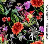 colorful wildflowers seamless... | Shutterstock . vector #263895692