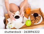 breakfast of coffee  orange... | Shutterstock . vector #263896322