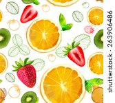 vector fruit seamless pattern... | Shutterstock .eps vector #263906486