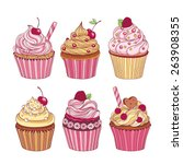 pack of six cupcakes with... | Shutterstock .eps vector #263908355