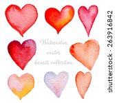 watercolor hearts set hand... | Shutterstock .eps vector #263916842