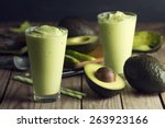 avocado shake or smoothie  made ... | Shutterstock . vector #263923166