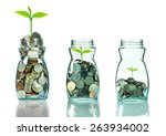 mix coins and seed in clear... | Shutterstock . vector #263934002