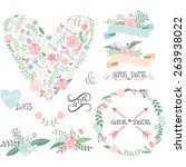 wedding floral set.labels... | Shutterstock .eps vector #263938022