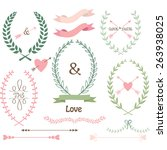 wedding laurel frame laurels... | Shutterstock .eps vector #263938025