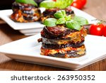 parmigiana di melanzane  baked... | Shutterstock . vector #263950352