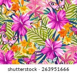 butterflies and flowers exotic... | Shutterstock .eps vector #263951666