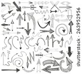 vector hand drawn set of arrows.... | Shutterstock .eps vector #263952956