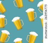 seamless background tankards... | Shutterstock . vector #263956775