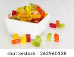 Gummy Bear Candies In  Bowl