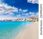 Small photo of Mallorca Cala Santa Ponsa Ponca beach in Calvia Majorca Balearic islands of Spain
