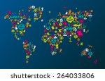 world map consisting of... | Shutterstock .eps vector #264033806