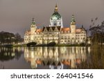 Stock photo new town hall in hanover germany at night 264041546