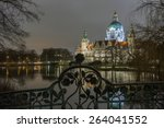 Stock photo new town hall in hanover germany at night 264041552