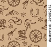 hand drawn wild west western...   Shutterstock .eps vector #264052592
