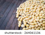 soy beans on wooden background  ... | Shutterstock . vector #264061136