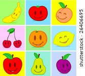 fruits doodle face smile | Shutterstock . vector #26406695