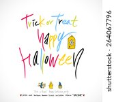 hand drawn halloween poster  ... | Shutterstock .eps vector #264067796