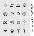 16 summer icons black | Shutterstock .eps vector #264095015