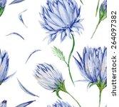 indigo floral pattern  ... | Shutterstock . vector #264097382