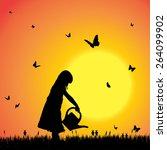vector silhouette of a girl... | Shutterstock .eps vector #264099902