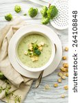 fresh broccoli soup with... | Shutterstock . vector #264108848