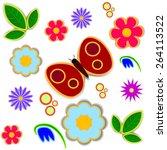 pattern butterfly flowers... | Shutterstock .eps vector #264113522
