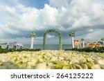 wedding flower setting on the... | Shutterstock . vector #264125222