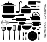 kitchenware icon in silhouettes ... | Shutterstock .eps vector #264133406
