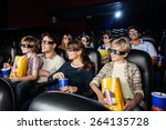 families with snacks watching... | Shutterstock . vector #264135728