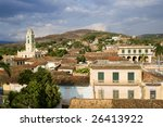 This image shows the Colonial architecture of Trinidad, Cuba - stock photo