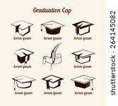 academic cap icons set | Shutterstock .eps vector #264145082