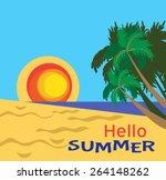 summer scene vector  | Shutterstock .eps vector #264148262