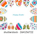 colorful decorated easter eggs... | Shutterstock .eps vector #264156722